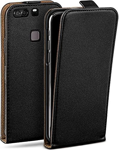 moex Flip Hülle für Huawei P9 Plus - Hülle klappbar, 360 Grad Klapphülle aus Vegan Leder, Handytasche mit vertikaler Klappe, magnetisch - Schwarz