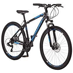 in budget affordable Schwinn GTX 2.0 Comfort Adult Hybrid Bicycle Dual Sport Bicycle 18inch Aluminum Frame Black / Blue
