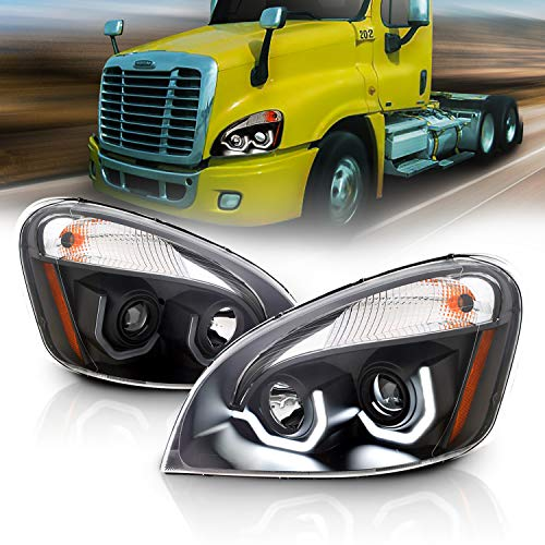 AmeriLite Black Projector Replacement Headlights Dual LED Bar Set For 2008-2020 Freightliner Cascadia (Pair) High/Low Beam Bulb Included