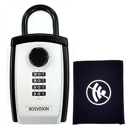 Bosvision Schlüsseltresor/Schlüsselsafe [Groß] [Schäkel/Bügel] [Zahlenschloss] mit Keyless Go Autoschlüssel Faraday Tasche