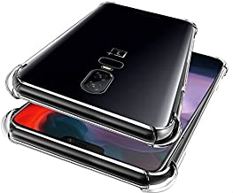 Dashmesh Shopping® Anti-Shock Flexible Protective Shockproof Hybrid Protection Back Cover with Bumper Corners for OnePlus 6 (Transparent)