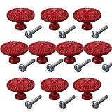 CSKB Red 10PCS Retro Simple Style Round Door Knob Zinc Alloy Shower Bath Door Handle Pull Knobs for Drawer,Cabinet,Chest, Bin, Dresser, Bathroom,Cupboard, Etc with Screws …
