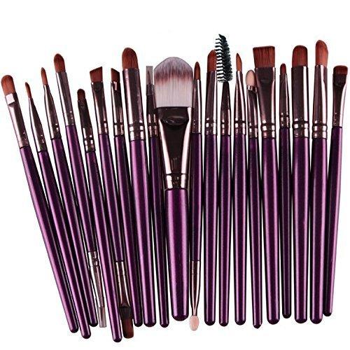 Liroyal Lot de 20 pinceaux de maquillage doux pour fond de teint, fard à paupières, eyeliner, lèvres, café violet
