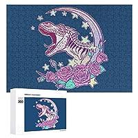Roaring Tyrannosaurus Roses Pastel Goth 300ピースのパズル木製パズル大人の贈り物子供の誕生日プレゼント