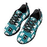 HUGS IDEA Zapatos de gimnasio de malla transpirable suave zapatos de deporte para mujeres y hombres, correr, dibujos animados perro enfermera Alpaca Soccer, Dientes Negro, 42 EU