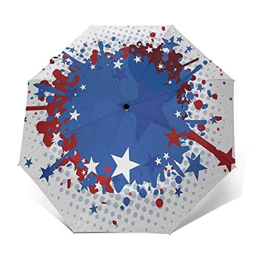 Paraguas Plegable Automático Impermeable Estrellas de Salpicaduras de Pintura sucias, Paraguas De Viaje Compacto a Prueba De Viento, Folding Umbrella, Dosel Reforzado, Mango Ergonómico