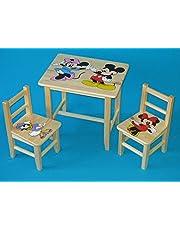 Juego de madera mesa con 2sillas para dormitorio infantil. M20. Otra idea de regalo.Completo de pino con dibujo a mano.