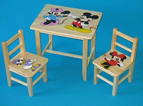 Set in legno tavolino con 2 sedie per cameretta bambini. M20. Ottima idea regalo.Completo in pino con disegno a mano.