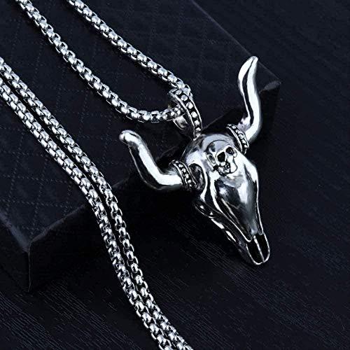 LBBYMX Co.,ltd Collar Collar Cadena de Acero Inoxidable 316L Collar con Cabeza de Toro T para Hombres Collar de Regalos Masculinos