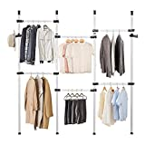 Ejoyous Telescopic Garment Rack, Floor to Ceiling Clothes Hanger Adjustable Wardrobe Closet Clothing Rack Hanging Rod Heavy Duty Freestanding Clothing Display Stand Organizer, 4 Poles 6 Bars
