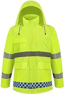 AZZ Hi Vis Viz Hooded Sweatshirt High Visibility Reflective Tape Band Work Fleece Safety Sweat Shirts Warm Security Jacket Work Wear Hoody (Size : M)