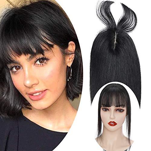 Haarteil Topper Remy Echthaar Clip in Extensions Toupet(Dichte:110%)Haarverlängerung Pony Toupee Frauen mit 2 Clips Schwarz#1 12