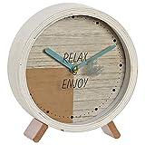 Hogar y Mas Reloj de Sobremesa de Cristal Decorativo, Relojes Originales de Mesa. Diseño Relax & Enjoy 15X4,5X16cm - Marrón Claro