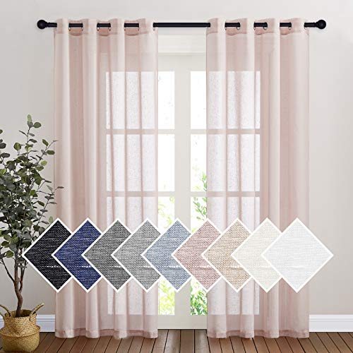 """NICETOWN Linen Textured Semi Sheer Bedroom Curtains, Grommet Top Casual 84"""" Long Thick Semitransparent Flax Sheer Window Treatment Privacy for Nursery, Ivory, 1 Panel = 52"""" W, 2 Panels, Dusty Blush"""
