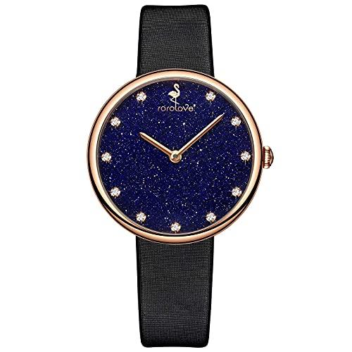 rorolove Reloj de pulsera de diamantes de moda de cristal de zafiro con esfera de cielo estrellado, Caja dorada, Correa