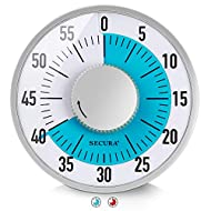 Secura 60-Minute Visual Timer 6-Inch Mechanical Countdown Timers for Teaching, Meeting, Cooking, Working - Timer for Kids with Magnetic Backing, Foldable Legs, Hanging Hole (Blue)