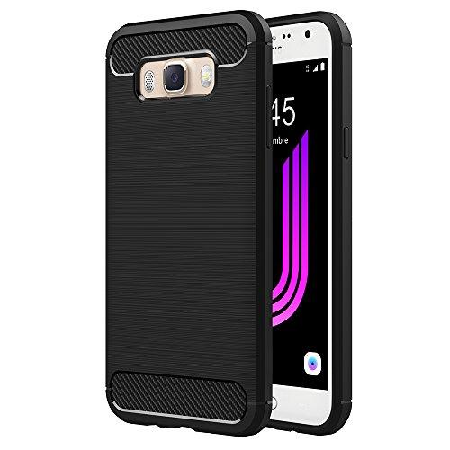 AICEK Funda Samsung Galaxy J7 2016, Samsung J7 2016 J710F/J710FN Funda Negro Gel de Silicona Galaxy J7 Carcasa Fibra de Carbono Funda para Samsung J7 2016 5,5 Pulgadas