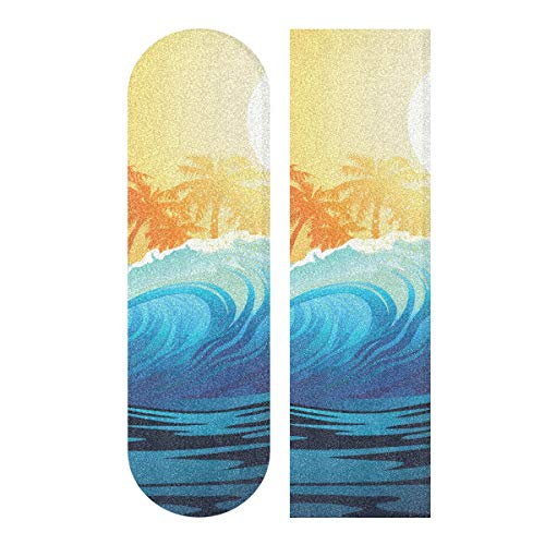 senya Skateboard Grip Tape Wave Sunrise Palm Trees Longboards Griptape Sandpaper for Rollerboard