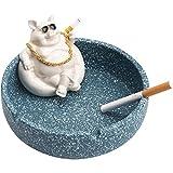 KANCK Cenicero de cerámica Creativa Cerdo de Dibujos Animados Anti Mosca Cenicero de Ceniza en casa Sala de Estar de Gran Capacidad Cerámica Cenicero Inicio Regalo para su Novio (Color : Blue)
