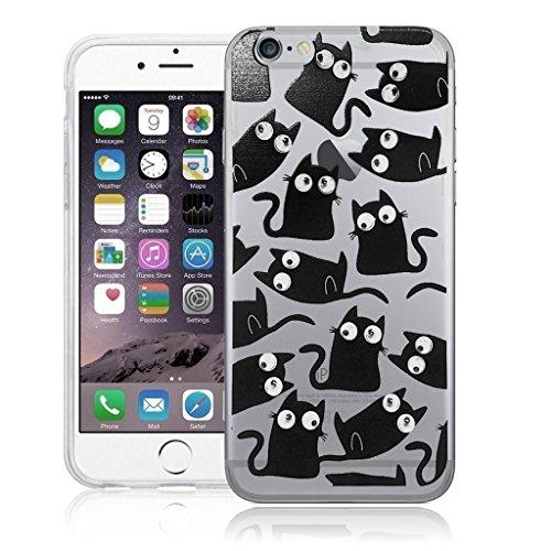 Color negro gato con ojos saltones funda, cubierta, piel,, silicona, negro, Apple iPhone 6 PLUS (5.5')