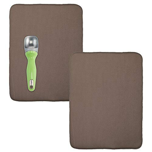 mDesign Ultra Absorbent Reversible Microfiber Dish Drying Mat and Protector for Kitchen Countertops, Sinks: Folds for Compact Storage, Extra Large - 2 Pack - Mocha Brown/Ivory Cream