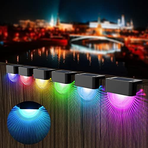 Solar Treppe Lampe, T-SUN 6 Stück LED Zaunbeleuchtung Pfostenkappen Garten Deko Deck-Lampe mit 7 Farbwechselnde, IP65 Wasserdicht Terrassenleuchten für Treppen,Terrasse, Weg, Gehwege, Zaun