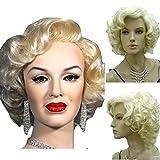 kolight Marilyn estilo peluca mujer corto rizado peluca de pelo cosplay de disfraces sexy calidad Niñas libre Cap + peine