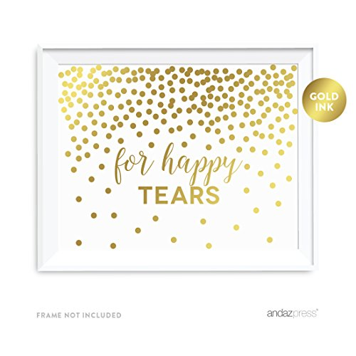 Andaz Press Wedding Party Signs, Metallic Gold Confetti Polka Dots, 8.5x11-inch, For Happy Tears Tissue Kleenex Ceremony Sign, 1-Pack, Unframed