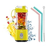 Portable Blender, Personal USB Rechargeable Juice Cup for Smoothie and Protein Shakes Mini Handheld Fruit Mixer 13Oz Bottle for Travel Gym Home Office Sports Outdoors Yellow