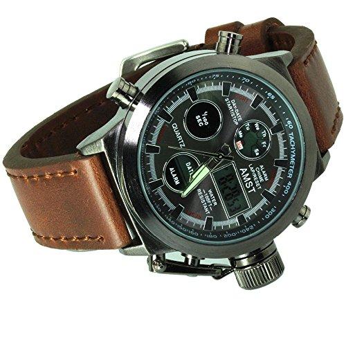 AMST Herren Uhr Analog Quarz mit Leder Armband 3003