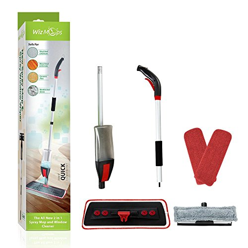Spray Mop & Window Cleaner kit | Almohadilla de microfibra reutilizable 2x...