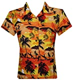 ALVISH Womens Hawaiian Shirt Aloha Beach Top Blouse Swim Casual Hawaiian Shirt for Women