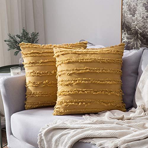 MIULEE Fundas de Cojines Suave y Cómoda Funda de Almohada con Cremallera Invisible para Sófa Cama Dormitorio Oficina Lino Duradero Moderno Minimalismo Decoración de Hogar 2 Piezas Amarillo 40x40cm