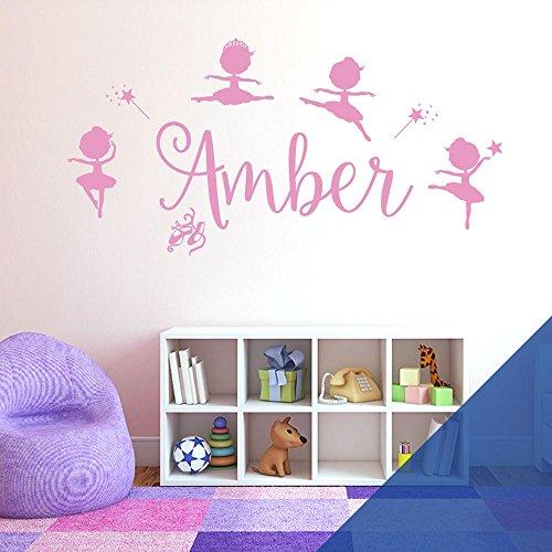 Autocollant mural personnalisable pour fille – Disney Baby Ballerine Little Princesse, Ballerine, Ballerine, Baguette, étoile, Panneau vinyle, Bleu moyen, Name Size: Large (950 x 290mm)