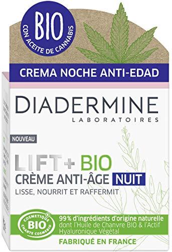 Diadermine - Lift+ Bio - Crème Visage Anti-Âge Nuit - Lisse, Raffermit et Apaise - 99% d'ingrédients d'origine naturelle dont l'Huile de Chanvre Bio et l'Actif Hyaluronique Végétal - Pot de 50 ml