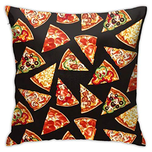 Pillow Covers 18x18inch, Black Pizza Pillow Cases Square Cushion Cover Home Sofa Bedroom Decorative
