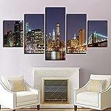 Impresiones En Lienzo 5 Piezas Cuadro Moderno En Lienzo Decoración para El Arte De La Pared del Hogar Vista nocturna de la ciudad de Nueva York 150×80 Cm HD Impreso Mural (Enmarcado)