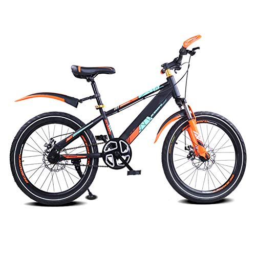 TOOSD Children's Bicycle Mountain Bike, 16/18/20 Inch Double Disc Brake, Single-Speed Children's Bicycle with Fender,Carbon Steel Frame Bicycle,D,18