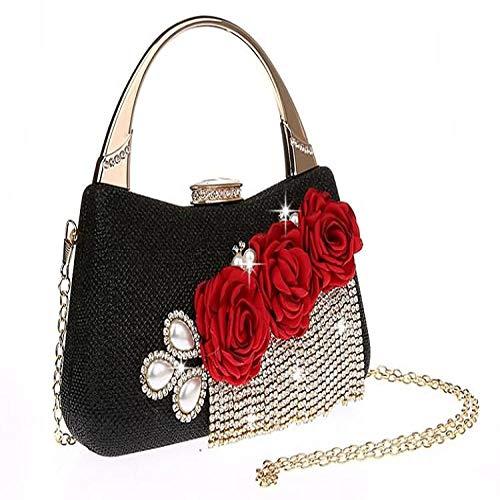 Sac À Main Femmes Sac À Main Mode Fleur Glands Embrayages Perles Femmes Sac À Main Portefeuille Sacs De Mariage avec Chaîne Noir