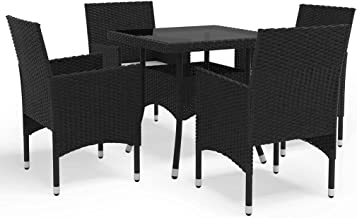 vidaXL Garden Dining Set 5 Piece Outdoor Patio Backyard Table and Dinner Chairs Seating Seat Sitting Furniture Setting Bla...