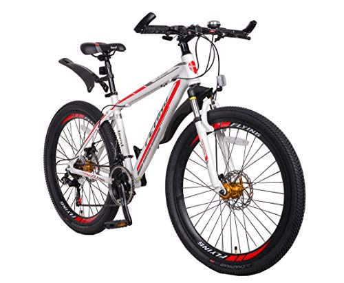 Flying Unisex's 21 Speeds Alloy Frame with Shimano Parts Lightweight Mountain Bike, White Red 3, 26