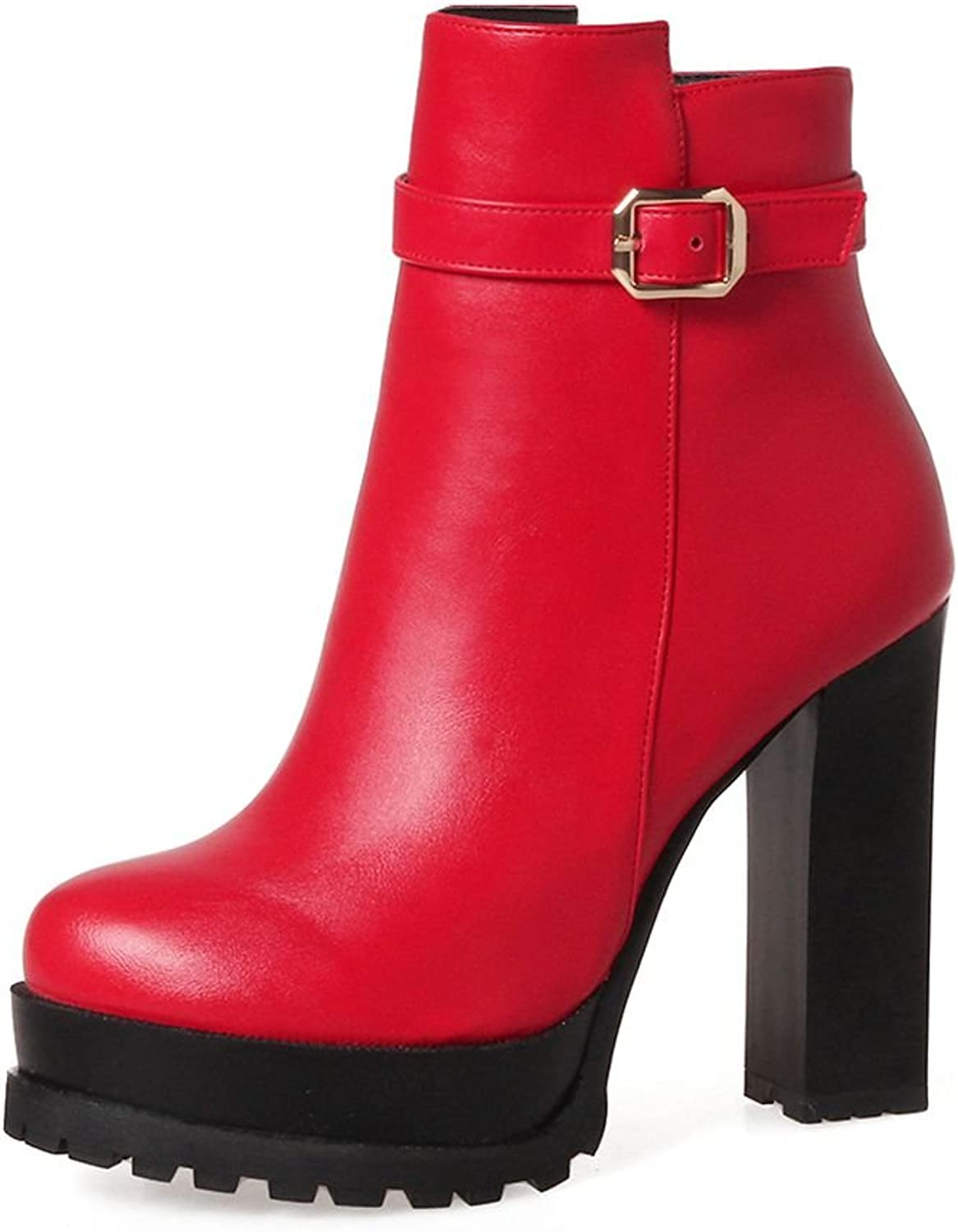 KingRover Women's Zipper Ankle Boots Strap Buckle Platform High Heels Buckle PU Leather Booties