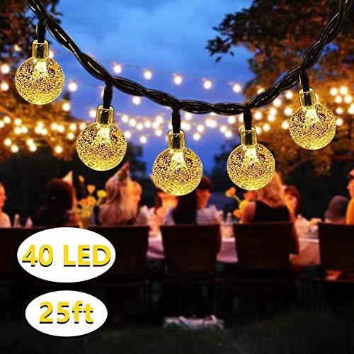DeepDream Solar Lichterkette Aussen 7.5M 40LED Kristall Kugeln 8 Modi Warmweiß, Außenlichterkette Wasserdicht Deko für Garten, Bäume, Weihnachten, Hochzeiten, Partys[Energieklasse A++]