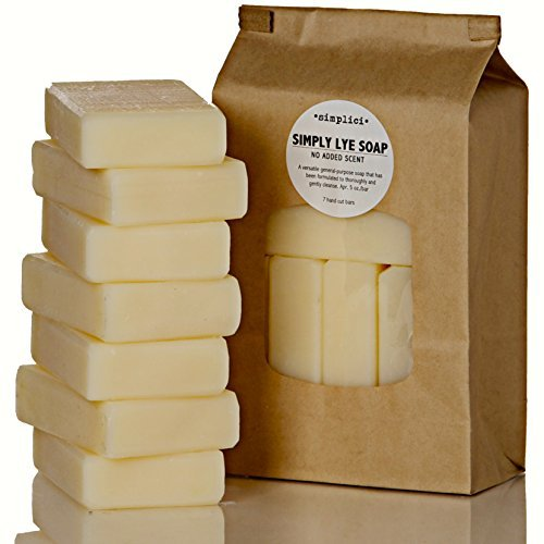 SIMPLICI Simply Lye Soap Value Bag (6 Bars) Bulk Pack. PALM OIL FREE. NO ADDED COLOR, SCENT OR TEXTURE. Made With Lard, Lye & 15% Coconut Oil.