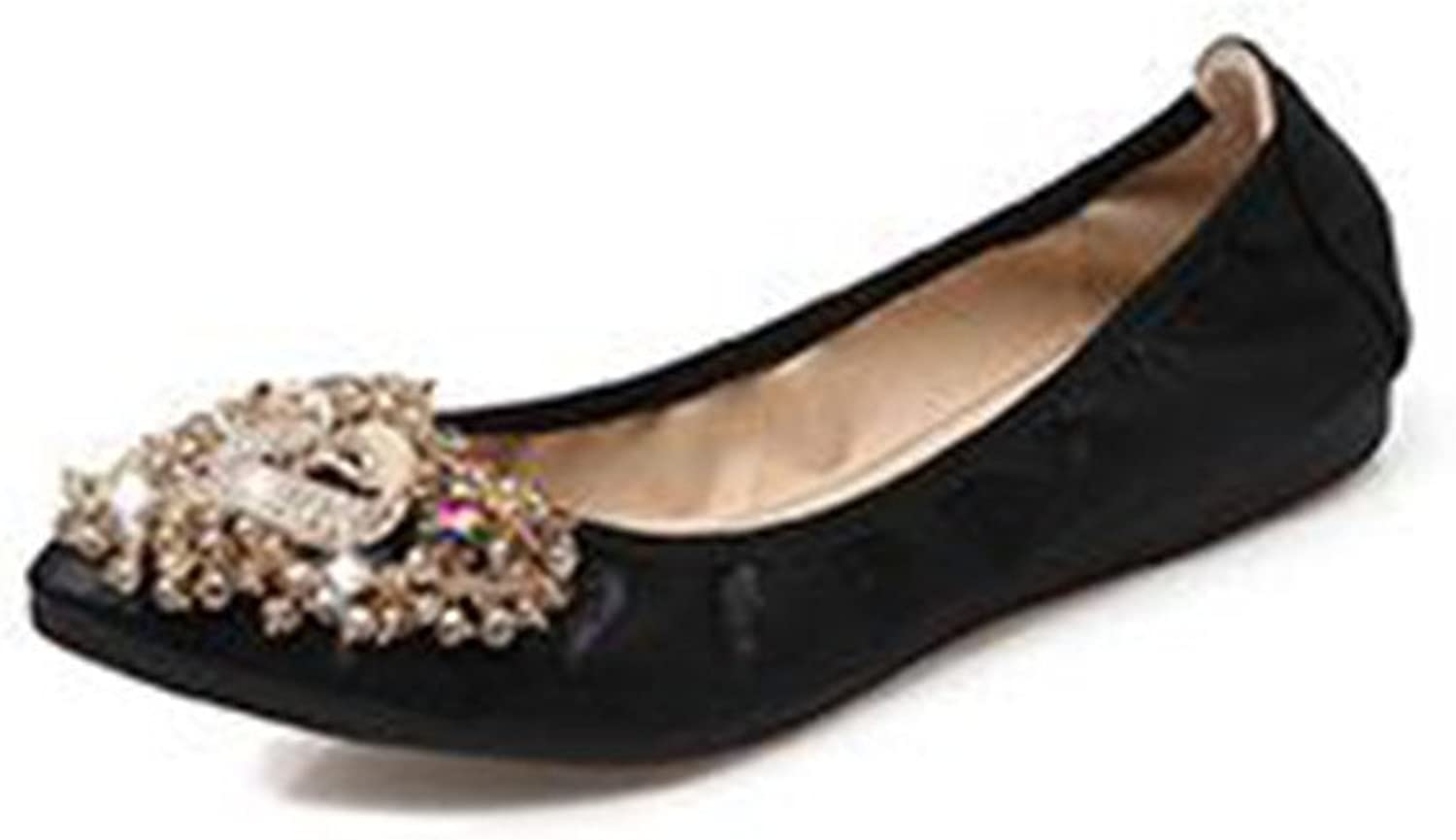 Womens Foldable Soft Pointed Toe Ballet Flats Rhinestone Comfort Slip on Flat shoes