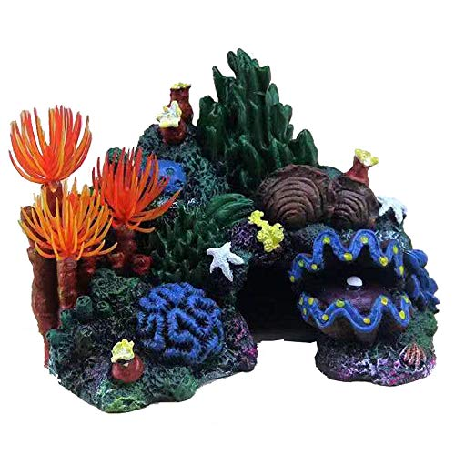 MANMEI Artificial Resin Small Coral Reef Aquarium Ornament,Landscape Fish Tank Rock Mountain Cave for Betta Sleep Rest Hide Play Breed Mini Sized 3.94 inch Tall (Black)