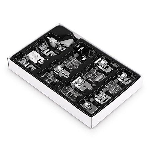 Kit de prensatelas para máquina de coser doméstica, SUNASQ Kit de 16 Piezas Multifuncional Prensatelas Accesorios para Máquina de Coser Presser Feet Compatible Para Máquinas de coser Brother, Singer.