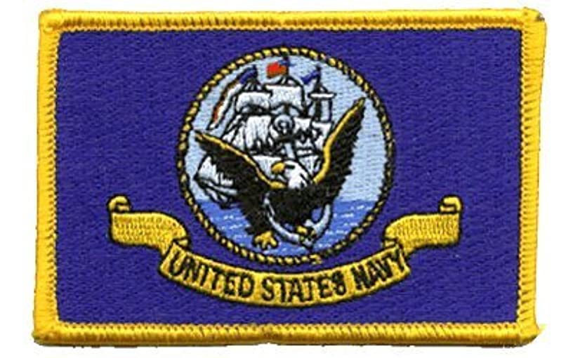 Navy Flag iron-on embroidered patch