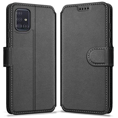 ykooe Handyhülle Kompatibel mit Samsung Galaxy A51 Hülle, Hochwertige PU Leder Handy Schutz Hülle für Samsung Galaxy A51 Flip Tasche, Schwarz