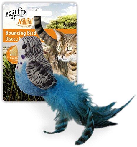 ALL FOR PAWS Katzenspielzeug Vogel mit Federn Plüschvogel Bouncing Bird - blau